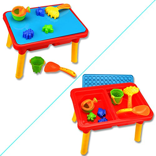 Price comparison product image Kids Outdoor Toys Set Summer Sand and Water Table with Beach Play Set Sand Table toys for toddlers Colorful Wishtime