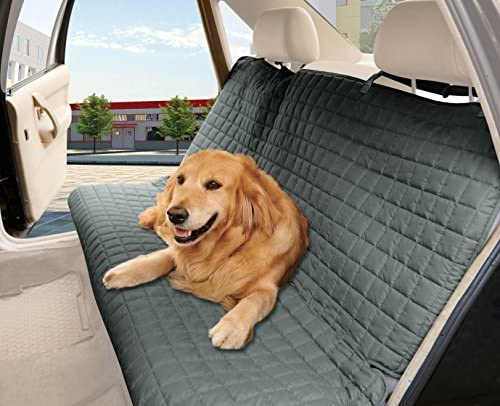Elegant Comfort Quilted Design 100 Waterproof Premium Quality Bench Car Seat Protector Cover Entire Rear Seat for Pets – Ties to Stop Slipping Off The Bench