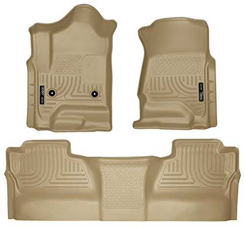 Husky Liners Front & 2nd Seat Floor Liners Fits 14-18 Silverado/Sierra Crew (Tan 2nd Seat)