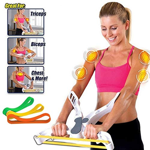 LETTON Arm Workout Machine for Women with 3 Resistance Elastic Training Bands, Home Upper Body Fitness Exercise System…