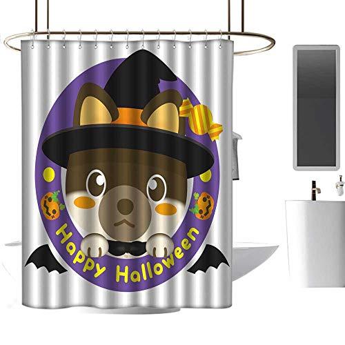 homecoco Shower stall Curtains Dog Kid Club Miniature Shiba of The Halloween Bathroom Window Curtains W55 x L84 -