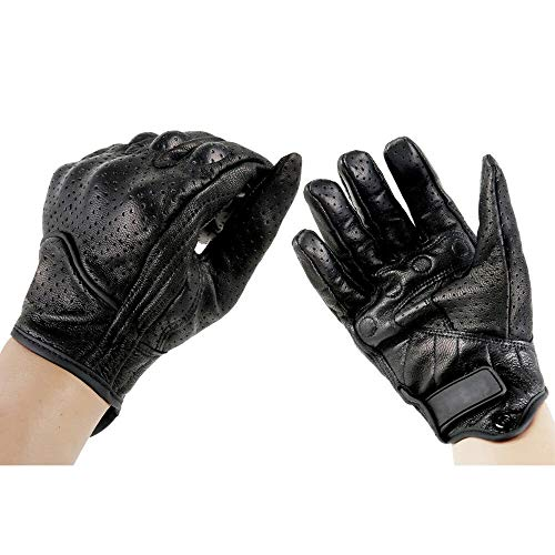 Motorcycle Leather Gloves Mens Perforated Pursuit Street Stealth Black M L XL 02 ()