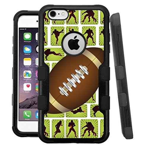 "iPhone 6 /6s Case, HJ Power[TM] For Apple iPhone 6 / 6s 4.7"" (All Carrier) ~ NATURAL TUFF Hybrid Rubber Hard Snap-on Case Black Black-Football Pattern"
