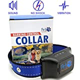NO SHOCK Humane Bark Collar, For 25-150 lb Dogs, Extremely Effective & No Pain or Harm, 7 Different Bark Sensitivity Levels, Bark Collar Vibration, Premium Nylon Collar and No Rust Buckle