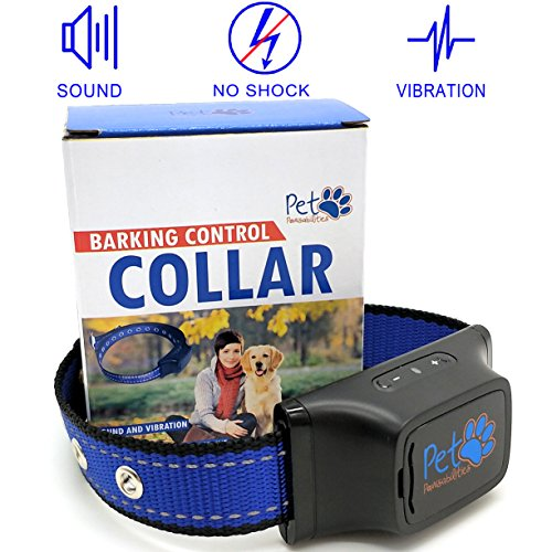 NO SHOCK Humane Bark Control Collar, For 25-150 lb Dogs, Extremely Effective & No Pain or Harm, 7 Different Bark Sensitivity Levels, Bark Collar Vibration, Premium Nylon Collar and No Rust Buckle,
