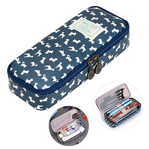 Multifunction Carry Bag - BTSKY Cute Pencil Case - High Capacity Floral Pencil Pouch Stationery Organizer Multifunction Cosmetic Makeup Bag, Perfect Holder for Pencils and Pens (puppy)