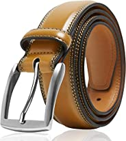 Genuine Leather Dress Belts For Men - Mens Belt For Suits, Jeans, Uniform With Single Prong Buckle - Designed