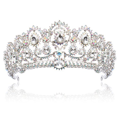ANBALA Bridal Queen Tiara Crown, Crystal Wedding Bridal Headband Prom Queen Pageant Princess Crown Hair Accessories for Women