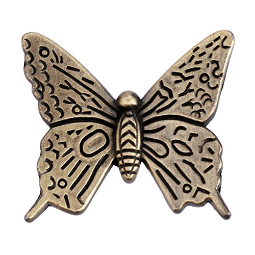 (5Pcs Vintage Butterfly Cupboard Door Knobs Cabinet Handles Furniture Chest Drawer Pull Antique Bronze (1.69'' x 1.57'' x)