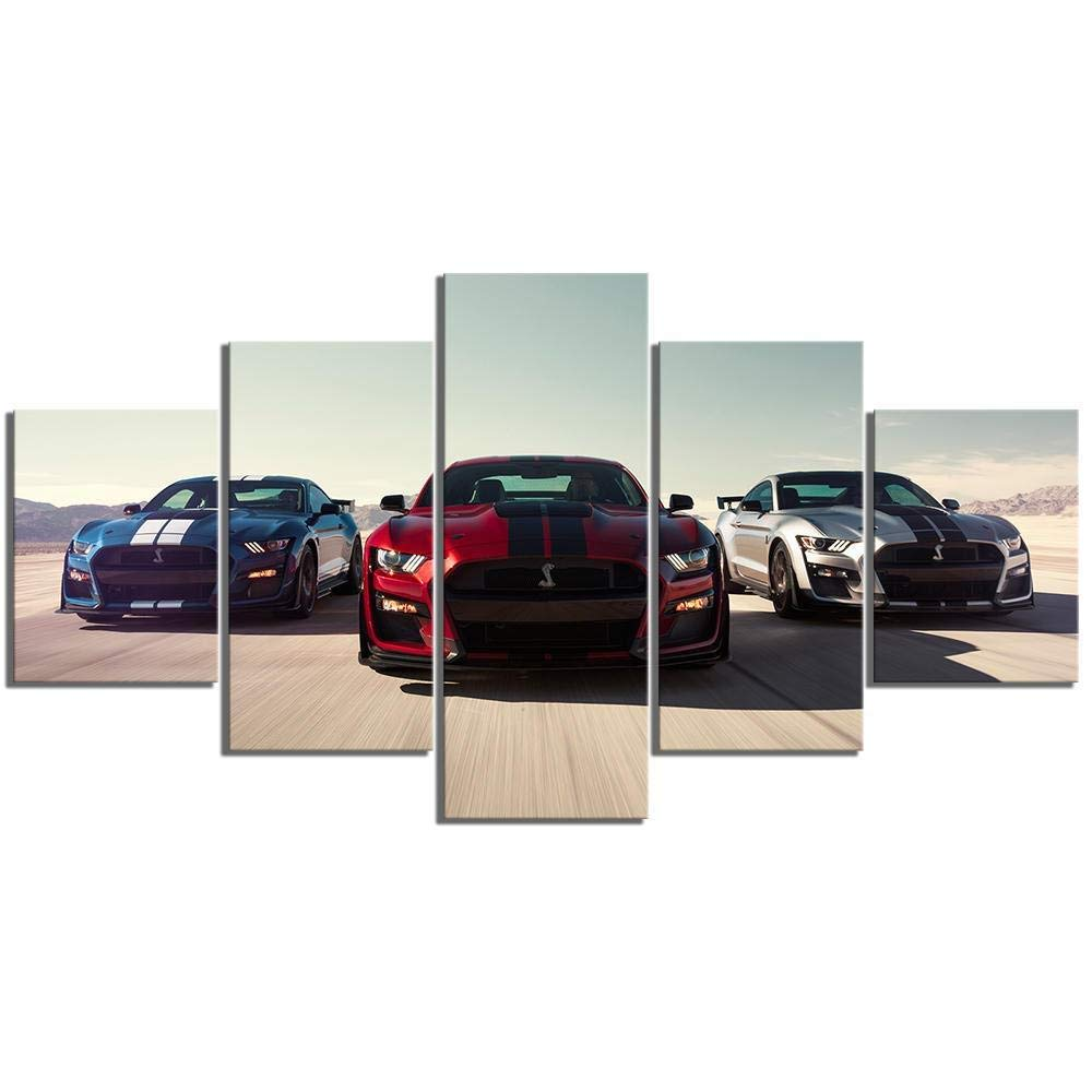 JUNEWIND Prints On Canvas 5 Piece Hd Cars Print Poster Canvas Art Decorative Paintings for Home Decor Wall Art-FramelessL
