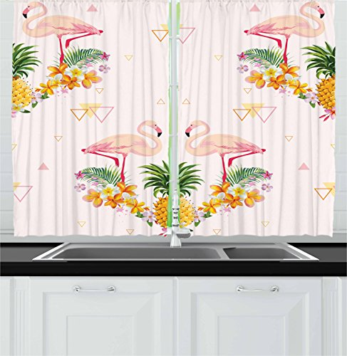 Ambesonne Kitchen Decor Collection, Tropical Floral Flamingo Pineapple Hawaiian Flowers Bananas Triangles Retro Style, Window Treatments for Kitchen Curtains 2 Panels, 55X39 Inches, Pink Yellow Green