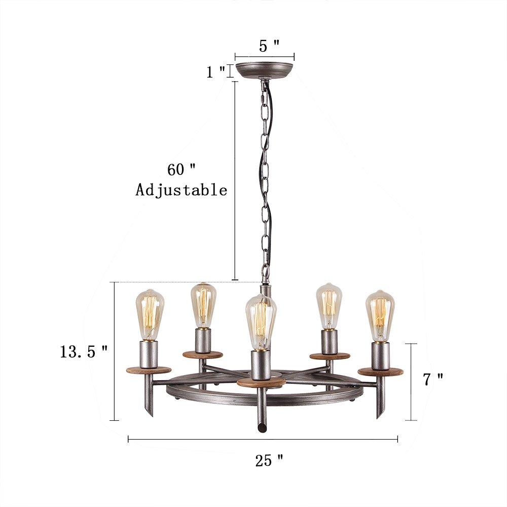 Eumyviv C0020 5-Lights Annular Metal Wood Chandelier Retro Rustic Industrial Pendant Light Edison Vintage Decorative Light Fixtures Ceiling Light Luminaire by Eumyviv (Image #6)