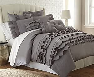 Amrapur 3DVTSHM1-ANA-KG 3 Piece Anastacia Platinum Mandalay Bay Ruffled Duvet Set, King
