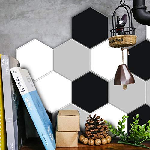 AMNQT 10 unids/Set Imitación Mármol Negro y Blanco Ceniza Hexagonal Azulejo Pegatinas Baño Cocina Bricolaje Casa...