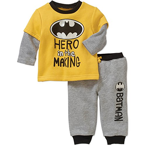 (Warner Bros. Batman Newborn Infant Baby Boys' Long Sleeve Fleece Hangdown T-Shirt and Jogger Pants Set, Yellow (18 Months))