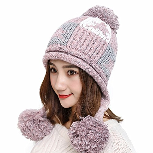 HUAMULAN Women Winter Dual Layered Thick Beanie Hat Ski Ear Flaps Caps Fleece Lined Pompoms,Pink