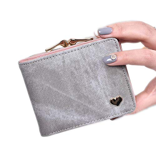 Fashion Colorful Lady Lovely Coin Purse Solid Golden Heart Wallet Large Capacity Zipper Women Small Bag Cute Card Hold,Grey