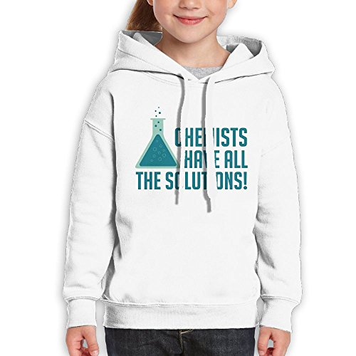 Price comparison product image Anraglan Chemists Have All The Solutions Girls Long Sleeve Pullover Hooded Sweatshirt White Size L