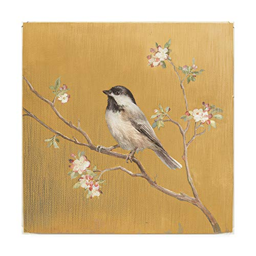 Trademark Fine Art Black Capped Chickadee on Gold by Danhui NAI, 24x24