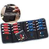 Lewis N. Clark AM/PM Folding Pill Organizer + Supplement Case for OTC Medicine, Prescription + Vitamins - 16 Slot Pouch, Black