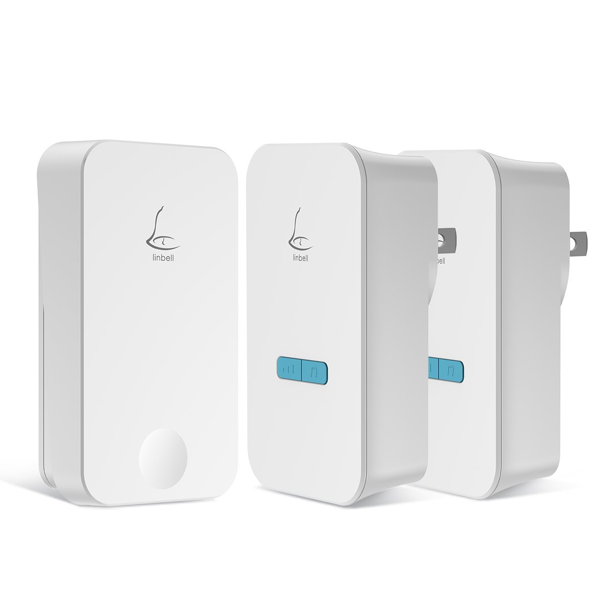 Linbell Self Powered Wireless Doorbell Kit with 1 Remote Button and 2 Plug in Receivers, 36 Chimes, 5 Volume Levels, LED Indicator, No Batteries Required for Remote Button and Receiver