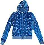 Blue Velour Hologram Sequins Juicy Lounge Track Hoodie Jacket