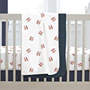 Carousel Designs Red and Navy Baseball Crib Blanket