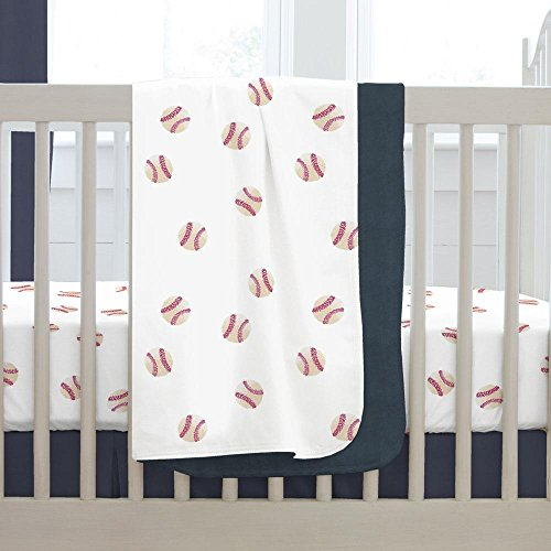 and Navy Baseball Crib Blanket (Baseball Baby Blanket)