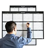 Large Annual Erasable Laminated Wall Calendar, 24 x 36 inch, 2-Sided Reversible Vertical/Horizontal, Mounting Tape Included (Jul 2018 - Jun 2019)