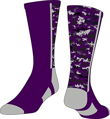 TCK Sports Digital Camo Crew Socks, Purple, Large