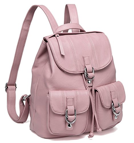 Faux Leather Large Purse Backpack Front for Two VASCHY Backpack nbsp;Drawstring Pockets Flap Buckle pink Women Fashion with for College TdXfxfqw1Y