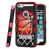 iPhone SE / iPhone 5 Case, CASECREATOR[TM] For Apple iPhone SE / iPhone 5 / iPhone 5S (AT&T, Verizon, Sprint, Cricket) -- TUFF Hybrid Stand Case Black Red-BasketBall Hoop