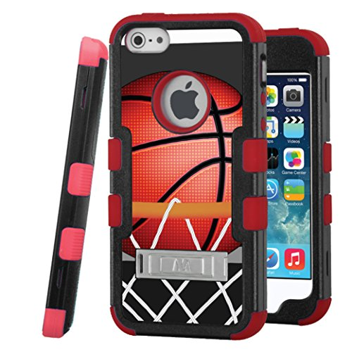 iPhone SE / iPhone 5 Case, CASECREATOR[TM] For Apple iPhone SE / iPhone 5 / iPhone 5S (AT&T, Verizon, Sprint, Cricket) -- TUFF Hybrid Stand Case Black Red-BasketBall Hoop