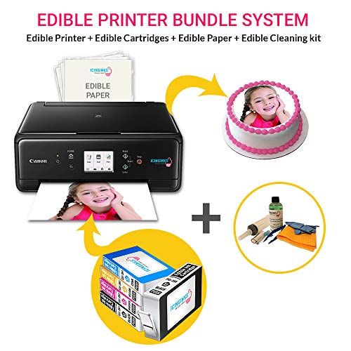 Icinginks Edible Printer Bundle, Includes Latest Edible Ink Printer Canon Pixma TS6120, 50 Edible Sheets, Edible Cartridges & Edible Cleaning Kit - Edible Ink Image Printer, Edible Photo Cake Printing