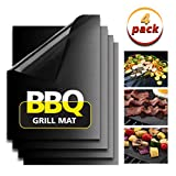 BBQ Grill Mats Alanda Non-stick Cooking Mats Set of 4 Baking Mat Reusable and Easy to Clean Works on Gas Charcoal Electric Grill and More - 15.75 X 13 Inch Black