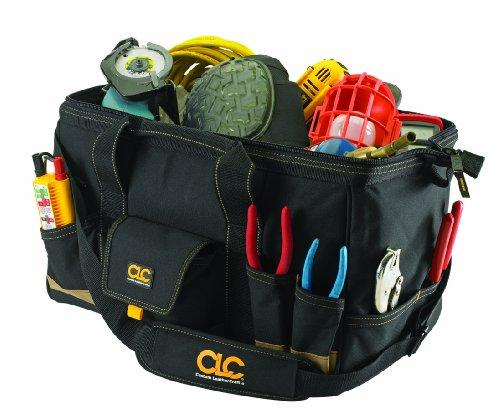 Custom LeatherCraft 1163 31 Pocket - 18-Inch Megamouth Tote - Leather 31 Pocket