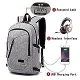 FLYMEI – Mochila para Laptop con USB Puerto de carga, con seguro y compartimiento de auricular, se adapta a Laptops de 12–40.6cm, impermeable, con bolsa para libro de viaje, color gris