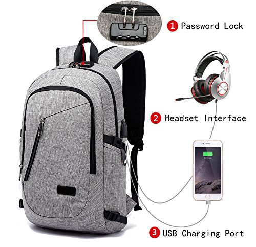 FLYMEI Laptop Backpack with USB Charging Port and Lock & Headphone Compartment, Fits 12-16 inch laptop and Notebook, Waterproof School Rucksack Business Knapsack Travel Daypack College Bookbag, Grey by FLYMEI