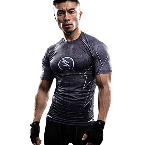 [COOL Men's Compression Fithness Tee,Flash Black Slim Gym Runing Shirt L] (Quick Costume Ideas For Males)