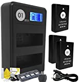 DOT-01 3X Brand 1650 mAh Replacement Nikon EN-EL14A / EN-EL14 Batteries and Smart LCD Display Dual USB Charger for Nikon P7000 Digital Camera and Nikon ENEL14A Accessory Bundle