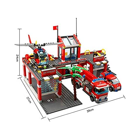 Fire station set engine helicopter /& 5 fireman figs box set 774pc