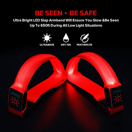 BSEEN 1 Pack for 2 PCS LED Armband, Running armabnd, led Bracelet Glow in The Dark-Safety Running Gear.Use (Fluorescent Red)