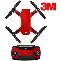 SopiGuard 3M Gloss Dragon Fire Red Precision Edge-to-Edge Coverage Vinyl Sticker Skin Controller 3 x Battery Wraps for DJI Spark