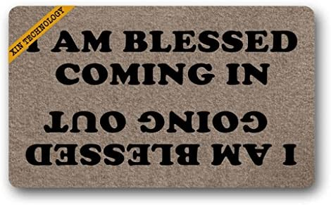 Artsbaba Doormat I Am Blessed Coming in and Going Out Door Mat Rubber Non-Slip Entrance Rug Floor Door Mat Funny Home Decor Indoor Mat 18 x 30 Inches