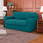 subrtex 2-Seater Sofa Cover with 2 Separate Cushion Covers, Stretch Sofa Slipcover Replacement Anti-Slip Furniture…