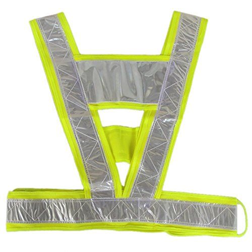 OAIMYY-New-Man/Woman High Safety Security Visibility Reflective Neon Yellow Vest GEA Stripes Belt Jacket - Jogging, Running,Cycling (2 Pack) ()
