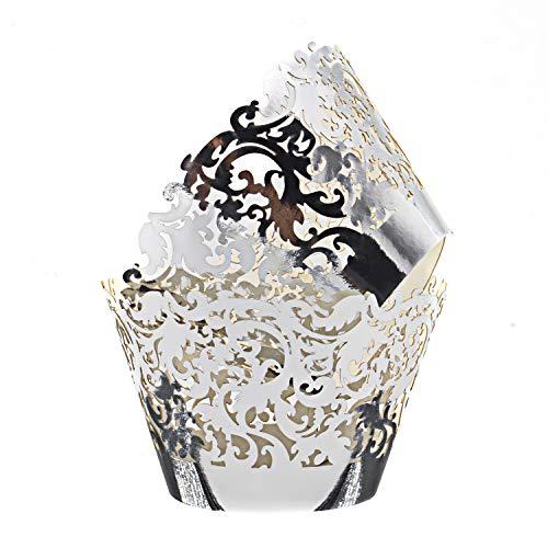 KEIVA 100pcs Cupcake Wrappers Wraps Cases Wedding Birthday Decorations (Mirror Silver)