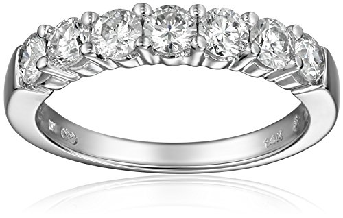 14k White Gold 7-Stone Diamond Ring (1 cttw, H-I Color, I1-I2 Clarity), Size 7 by Amazon Collection