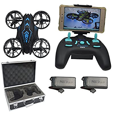 Blomiky 515W WIFI UFO Altitude Quadcopter Drone With FPV Camera Extra 2 Battery and Carrying Case 515W Blue with Box from JXD