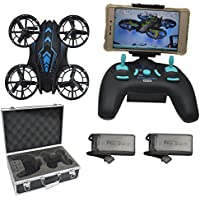 Blomiky 515W WIFI UFO Altitude Quadcopter Drone With FPV Camera Extra 2 Battery and Carrying Case 515W Blue with Box